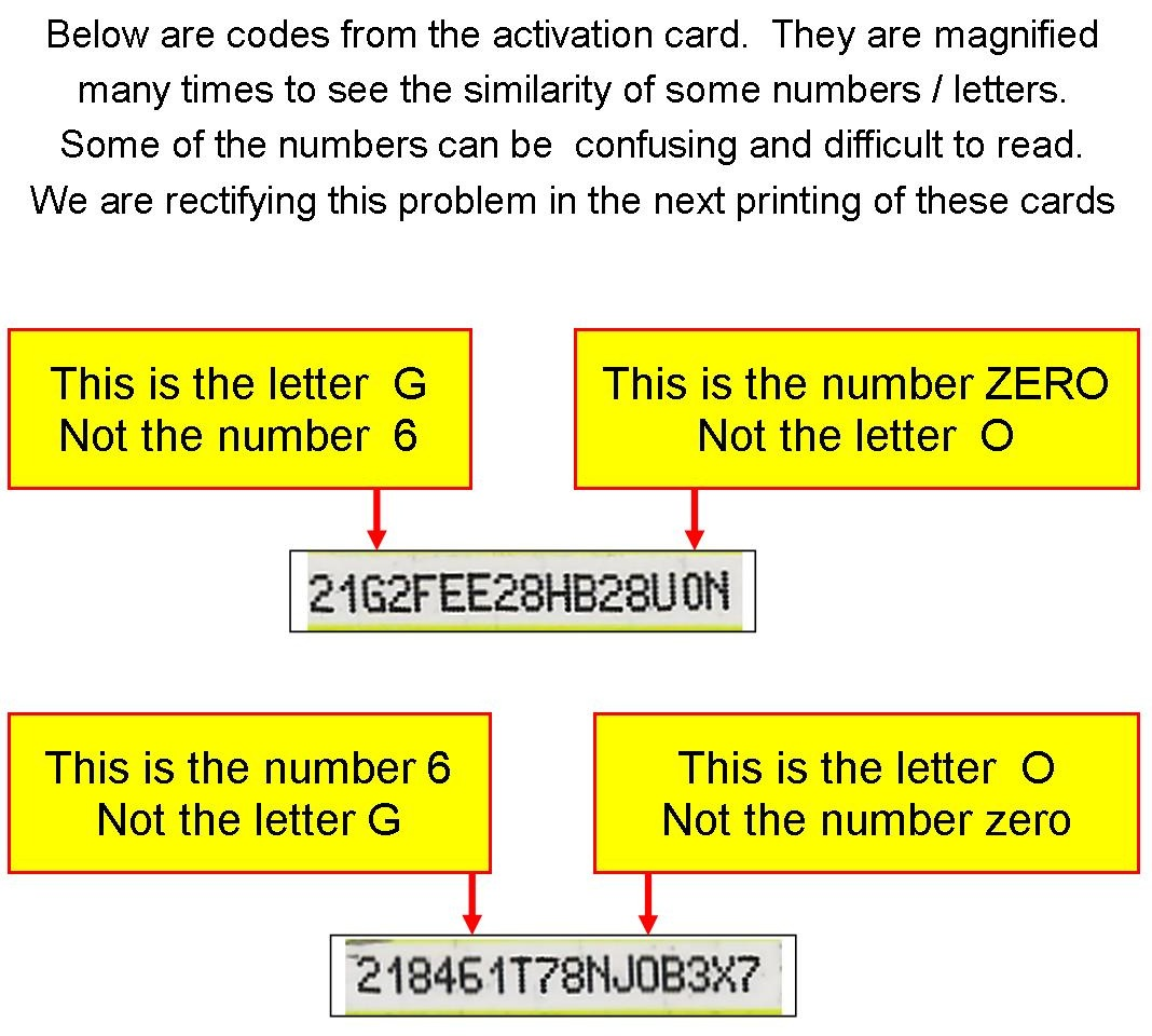 errors in activation cards