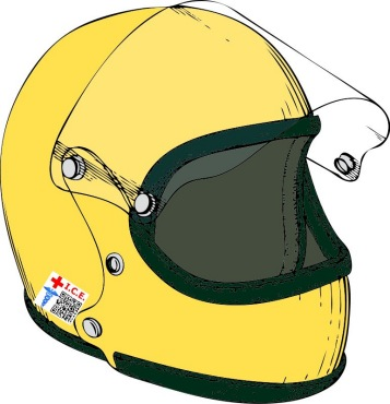 helmet with Medical QR attached